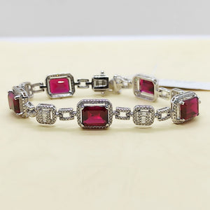 11ctw Emerald Cut Ruby Diamond Bracelet 14K White Gold