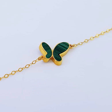 Butterfly Women's Bracelet 18K Yellow Gold, Green Agate