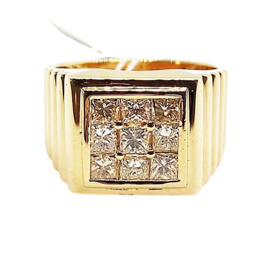 1.35ct Diamond Square Men's Ring 14K Gold