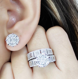 1.8ctw Diamond Engagement Ring and Half Eternity Bridal Wedding Ring Earrings Jewelry Set 14K White Gold