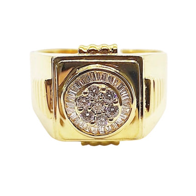 .80ct Round & Baguette Diamond Men's Ring 14K Gold