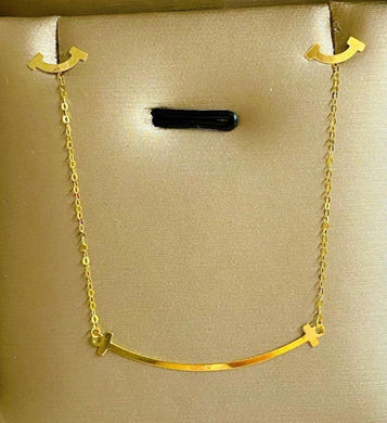 Smile Necklace & Earrings Jewelry Set in 18K Gold