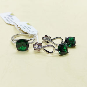 Emerald with Diamond Infinity Dangling Earrings & Ring Jewelry Set 14K White Gold