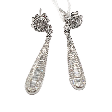 Diamond Teardrop Earrings 14K White Gold