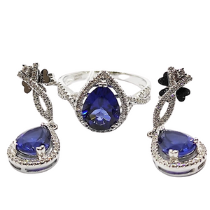 Blue Sapphire & Diamond Dangling Jewelry Set 14K White Gold