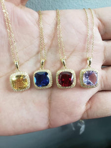 Birthstone Necklace, 14K Gold, 16-18 inches