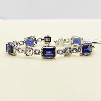 11ctw Emerald Cut Blue Sapphire Diamond Bracelet 14K White Gold