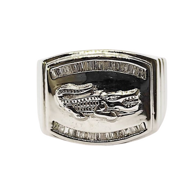 .15ct Diamond Crocodile Men's Ring 14K White Gold