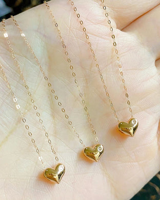 Heart with Dot Diamond Necklace 18K Gold