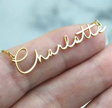 Name Necklace Script Personalized