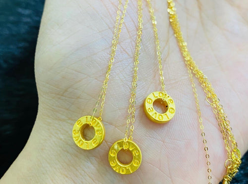 Love Coin Necklace, 24K Gold Pendant with 18K Gold Chain