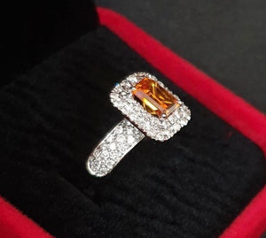 Citrine Emerald Cut Women's Ring, Diamond Double Halo with Triple Paved Side Diamonds