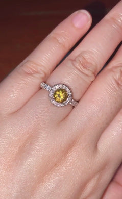 Citrine Halo Paved Engagement Ring 925 Silver / Women's Ring
