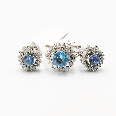 Round Aquamarine Diamond Halo Earrings, Ring Jewelry Set 14K White Gold