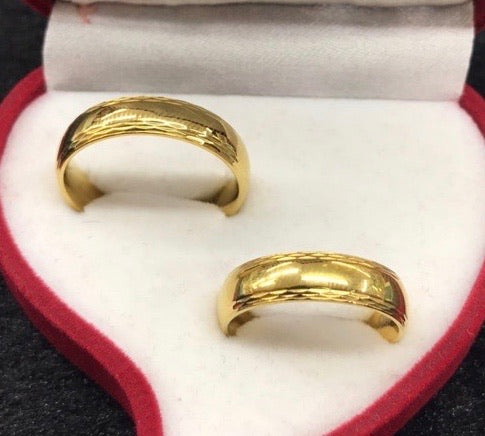 Wedding Ring Pair 8K Italy Gold, High Polish Finish with Crisscross Border Design, mtt22 - ZNZ Jewelry Philippines