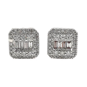 Diamond Illusion Halo Earrings 14K White Gold