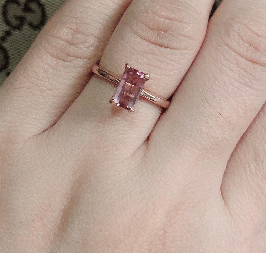 VALENTINE Pink Tourmaline Rosegold Engagement Ring in 14K Gold - ZNZ Jewelry Philippines