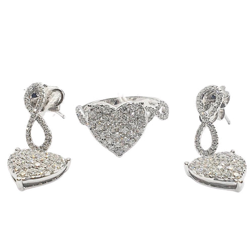 Infinity Drop Heart Diamond Jewelry Set 14K White Gold