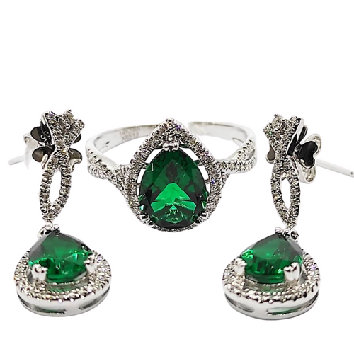 Emerald & Diamond Dangling Jewelry Set 14K White Gold
