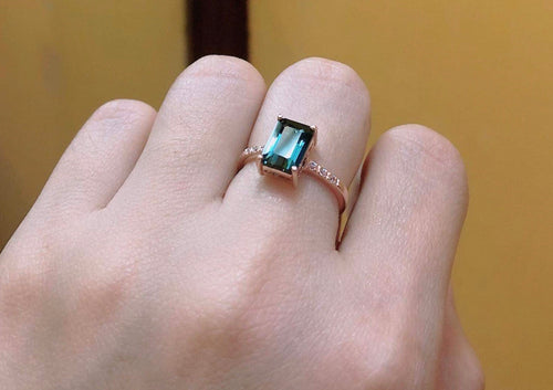 AUBREE 14K Rosegold Engagement ring with Brazilian Blue Topaz and Signity Side Stones - ZNZ Jewelry Philippines