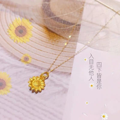 Sunflower 24K Gold Pendant with 18K Gold Chain