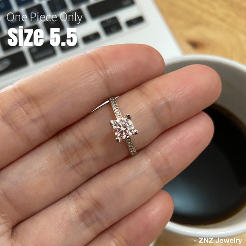 JULIET 18K White Gold Engagement Ring with Side Stones - ZNZ Jewelry Philippines