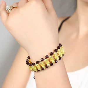 Bracelet PI XIU (piyao) in 24K Gold, Vertical Rows