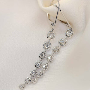 Diamond Dangling Earrings 18K White Gold