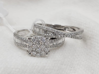 Diamond Engagement Ring and Half Eternity Bridal Set