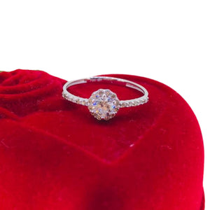 Engagement Ring 18k Gold, Round Halo with Side Stones, Dainty