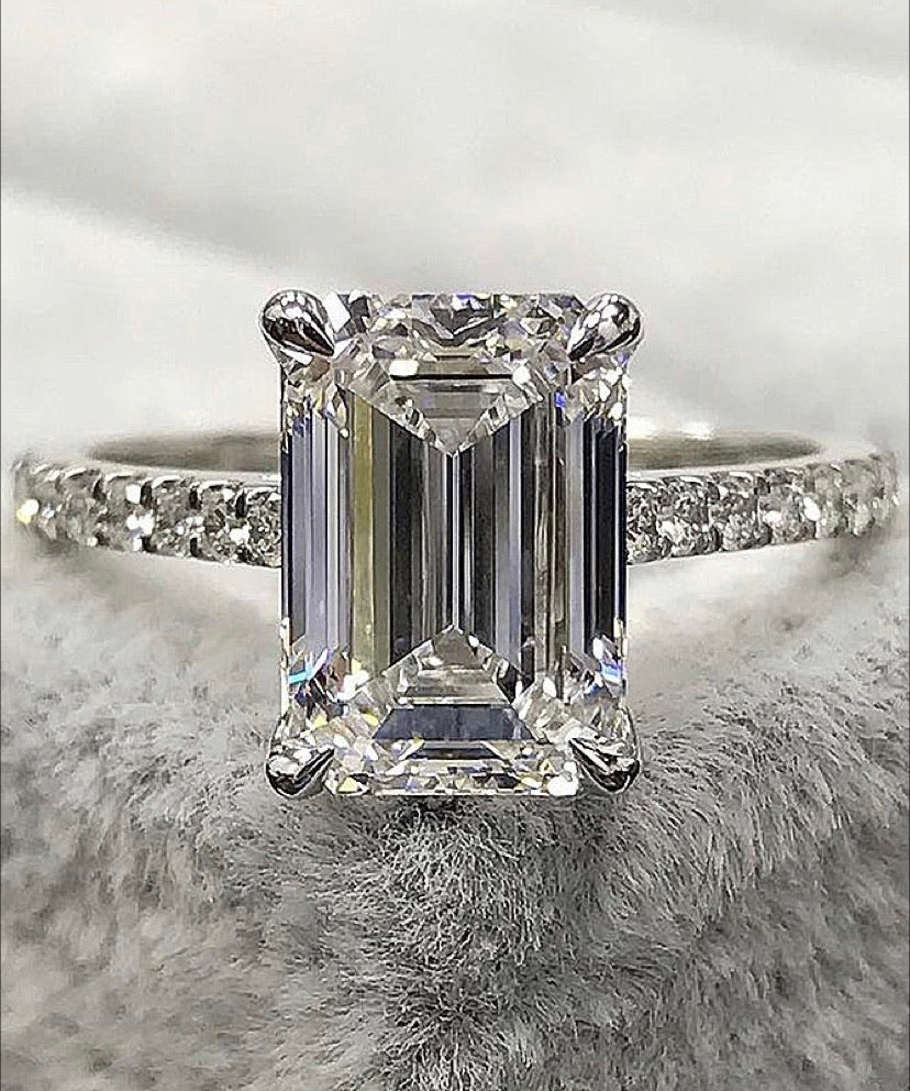 Emerald Cut Paved Band Ring 14K Gold Preorder - ZNZ Jewelry Philippines