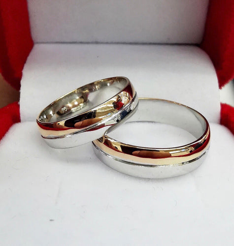 AUTUMN 18K Two-Toned White-RoseGold Wedding Bands, Handmade, Solid - ZNZ Jewelry Philippines