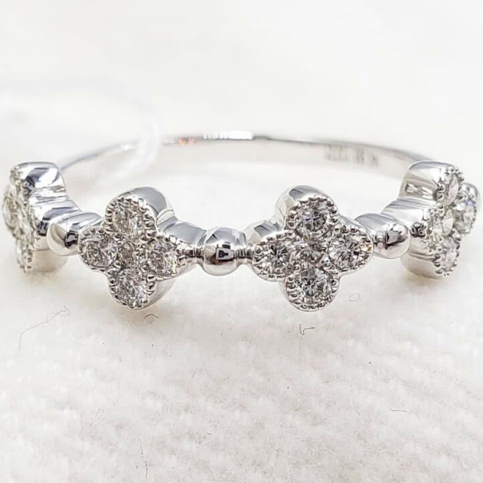 .27ctw Clover Diamond Ring 14K White Gold, Ladies' Ring, Wedding Band