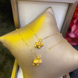 Women's Necklace, Auspicious Elephant, 24K Gold Pendant with 18K Gold Chain