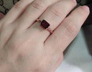 ISLA Red Garnet Engagement Ring in 14K Rosegold Vermeil - ZNZ Jewelry Philippines