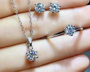 Custom Order 4-Prong Diamond Stud Jewelry Set White Gold