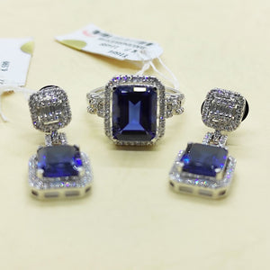 8.2ctw Blue Sapphire Diamond Halo Dangling Earrings Jewelry Set 14K White Gold