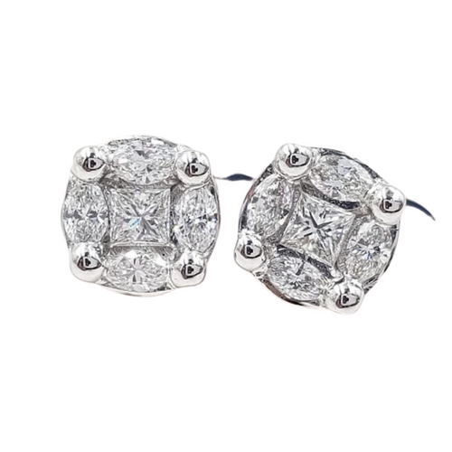 .43ctw Pie Cut Stud Earrings 14K White Gold