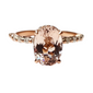 Salmon Oval Morganite Engagement Ring 14K Rosegold with Hidden Halo and Side Diamonds