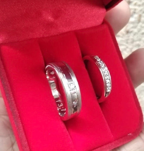 Diamond Wedding Bands 925 Silver, Diamonds .03ct for Him and 10pcs .01ct for Her