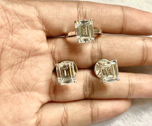 Jewelry Set with Emerald Cut Signity Stones in 14K Gold Vermeil - ZNZ Jewelry Philippines