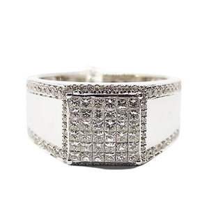 1.0ct Diamond Men's Ring 18K Gold, 6 Layer Princess Cut with Round Diamond Borders
