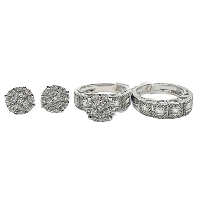 1.90ct Diamond Jewelry Set 14K White Gold
