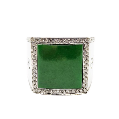 Jade Diamond Men's Ring 18K Gold