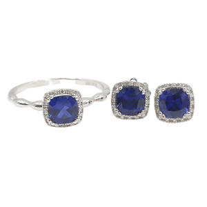 2.1ctw Blue Sapphire .10ctw Diamond Halo Jewelry Set 14K Gold