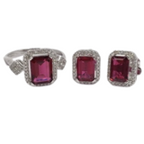 3.4ctw Ruby with Diamond Earrings & Ring Jewelry Set 14K White Gold