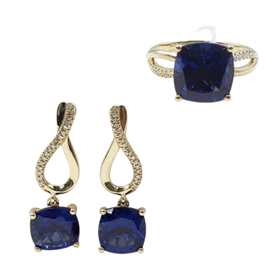 Blue Sapphire with Diamond Infinity Dangling Earrings & Ring Jewelry Set 14K Gold
