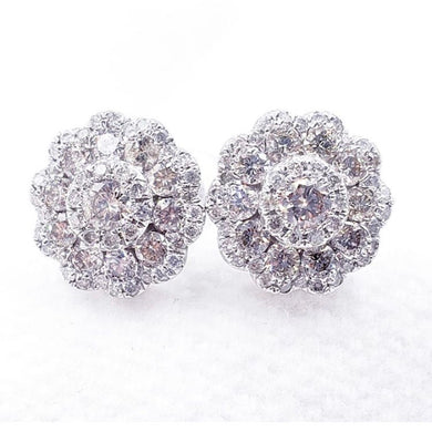 .96ct Flower Diamond Earrings 14K  White Gold