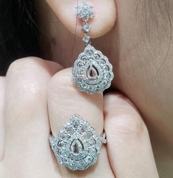 Rosecut Diamond Jewelry Set 14K Gold, Dangling Pear Illusion Earrings and Ring