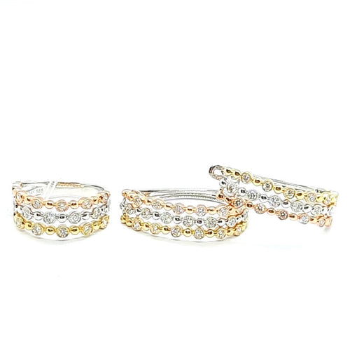 Diamond Jewelry Set Tricolor Hoop 14K Gold